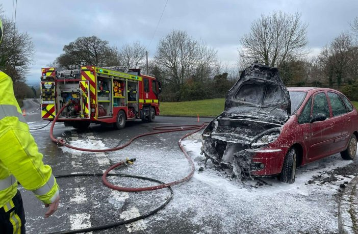 The car fire in London Road, Whimple. Picture: Ottery St Mary Fire Station