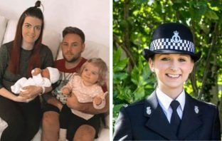 Left - Cranbrook couple Lucy Kelly and Chris Haggar with children, Lily and Olivia. Right - PC Gemma Clatworthy.