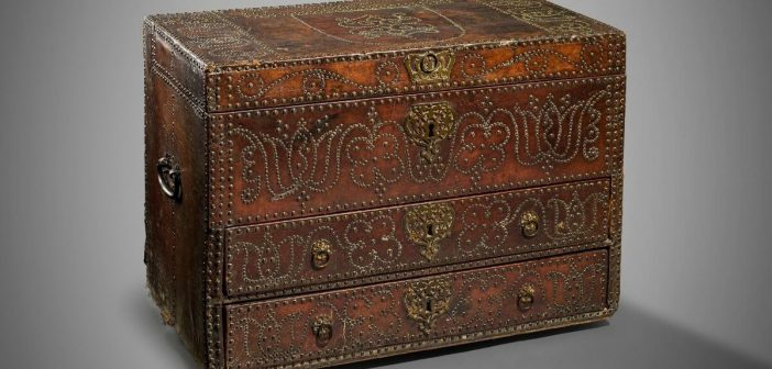 Rare 17th century leather chest from Ottery manor is to go under the hammer after it was discovered in Wiltshire