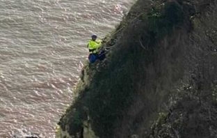 East Devon A coastguard rescuer descend the cliff to reach the casualty. Picture: Beer Coastguard