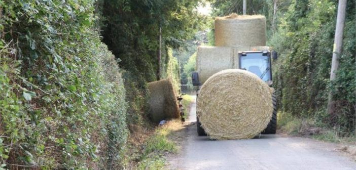 Farm worker handed suspended jail sentence for dangerous driving after unsecured hay bale hit cyclist in East Devon lane – leaving him with brain damage