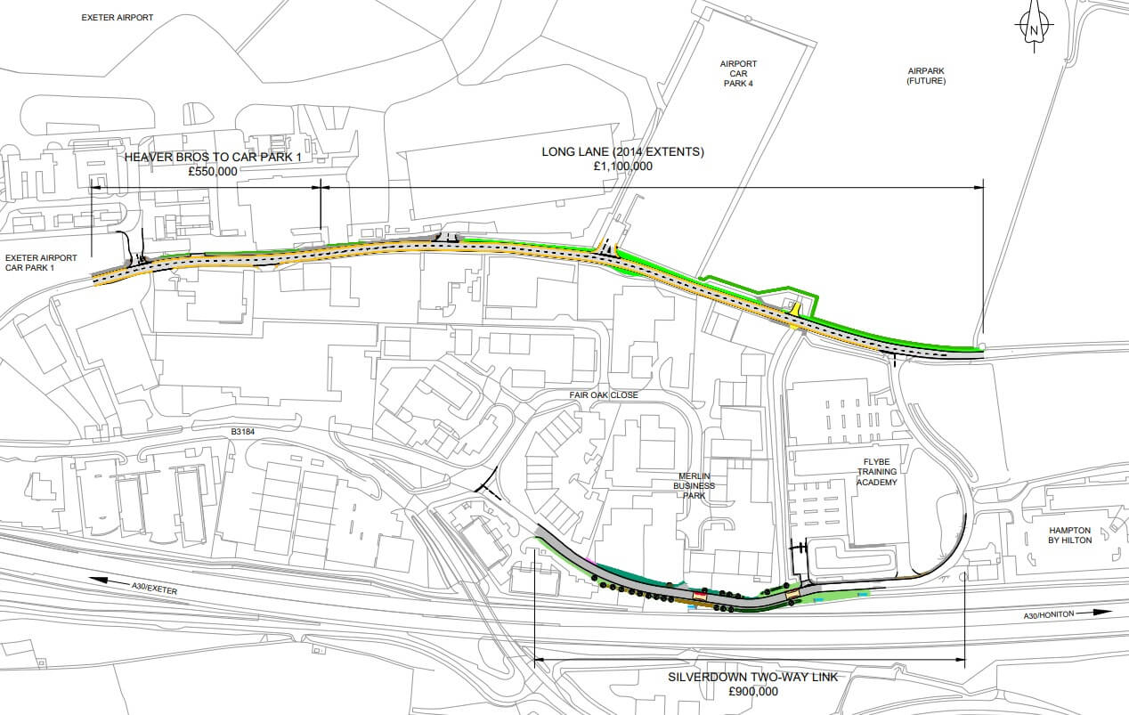 East Devon Exeter Plans for the Long Lane enhancement scheme.