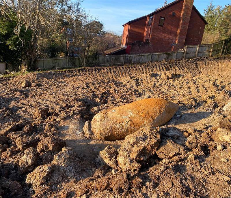 The World War Two bomb discovered on a building site in Exeter. Picture: Ministry of Defence