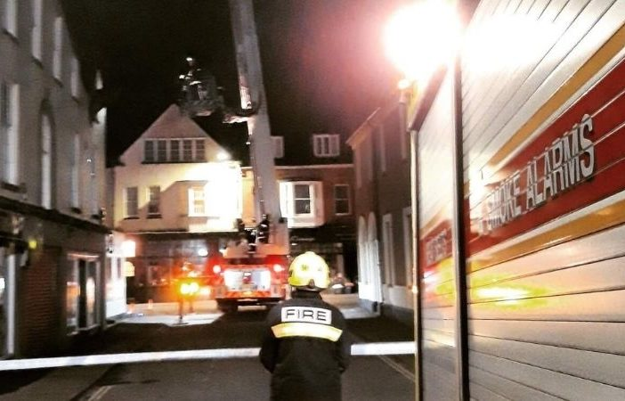 High winds damaged a roof in Budleigh Salterton. Picture: Exmouth Fire Station