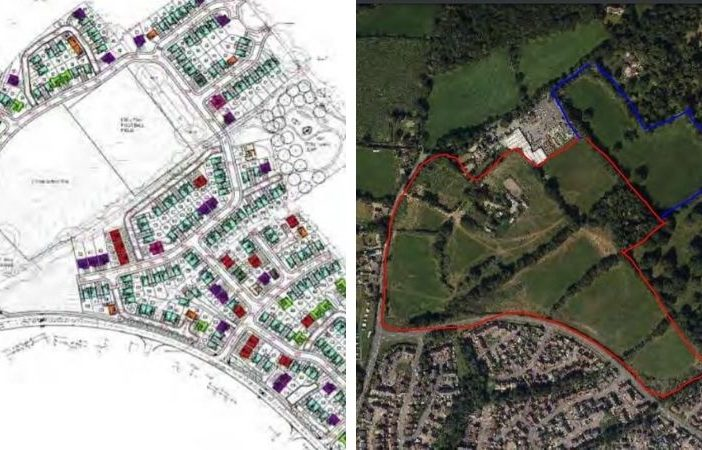 The proposals for 303 homes at the Goodmores Farm site in Exmouth.