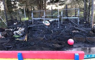 Damage caused by the arson attack at Pinhoe Primary School in Exeter.