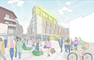 An artist's impression of the proposed new cinema for the Exeter Debenhams site. Image: Chapman Taylor