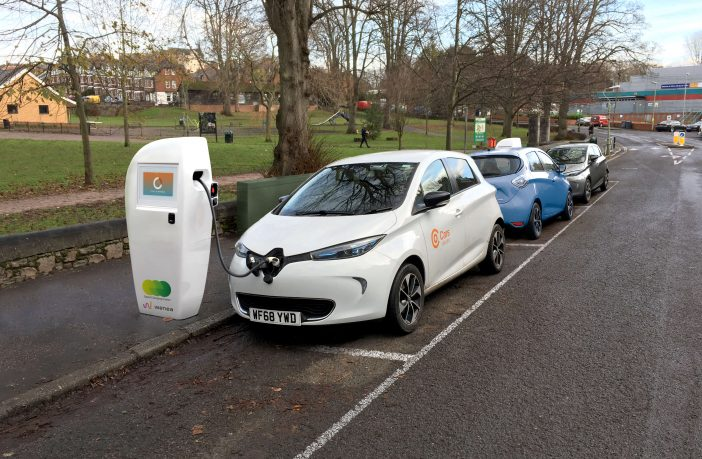 A digital representation of what a charge point could look like in Exeter. Image: Devon County Council