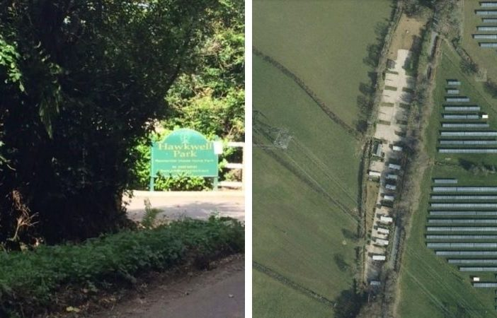 Hawkwell Park gypsy and traveller site in Hawkchurch, East Devon. Images shown to the EDDC Planning Committee