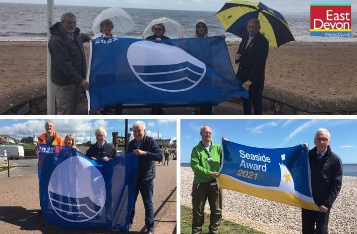 Top, Councillors Pauline Stott and Fred Cayhill with David Radford, Joy Whipps and David Poor in Exmouth. Bottom, left: Cllrs Peter Blyth, Denise Bickley, Chris Lockyear and Geoff Jung in Sidmouth. Bottom, right - Cllrs Peter Blyth and Tom Wright at Budleigh Salterton. Images: East Devon District Council
