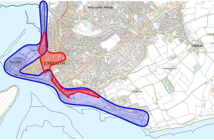 The area in blue shows how East Devon District Council wants to extend a Public Space Protection Order to cover Exmouth beach. The area in red shows where the rules are already in place. Image: EDDC