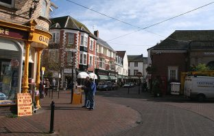 Sidmouth town centre towards New Street - at its junction with Church Street and Old Fore Street. Image: Martin Bodman/Geograph