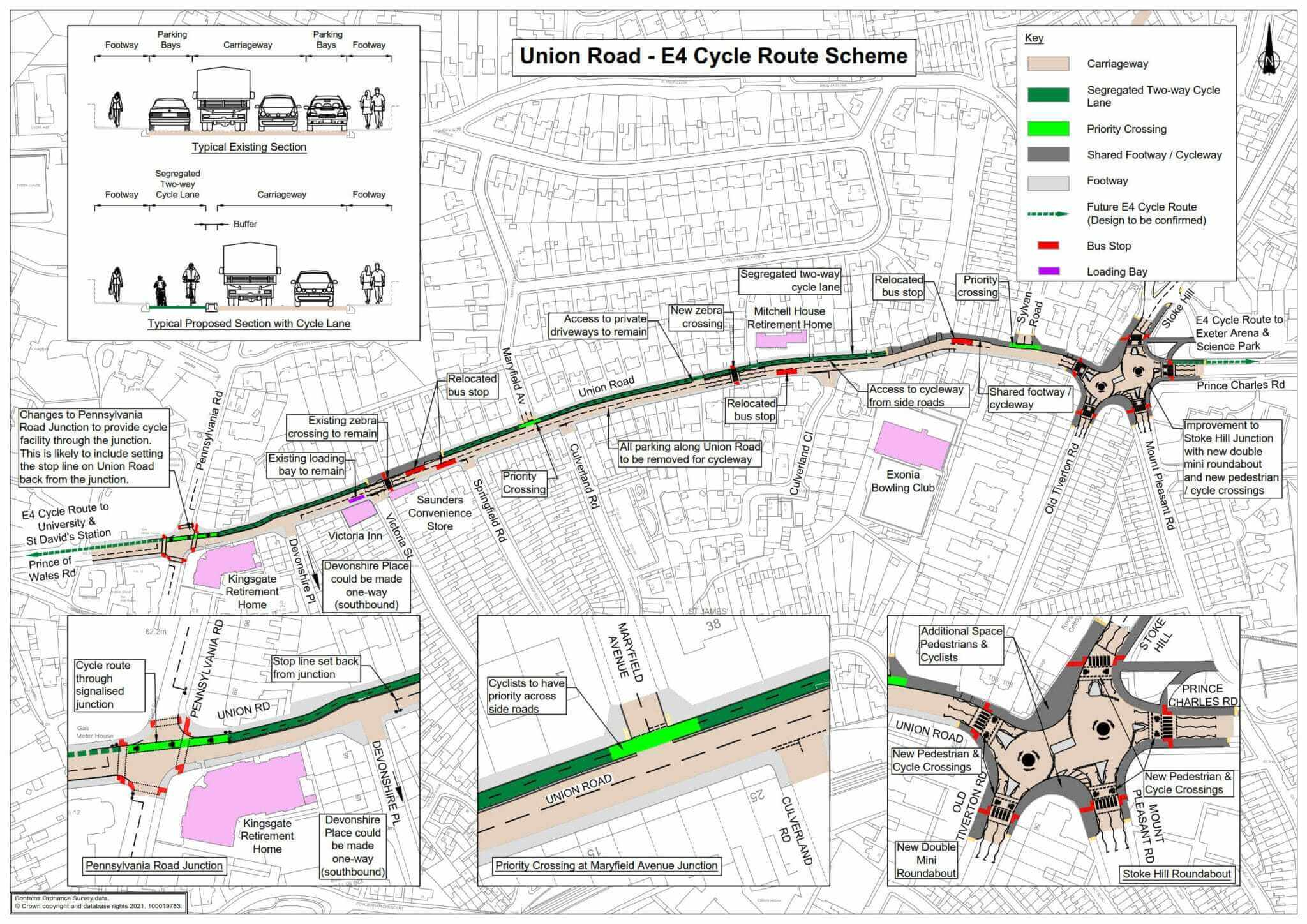 The proposed changes as part of the E4 cycle route in Exeter. Image: DCC