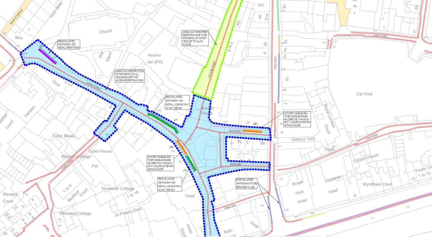 The proposed Traffic Regulation Order for Sidmouth. Image: DCC