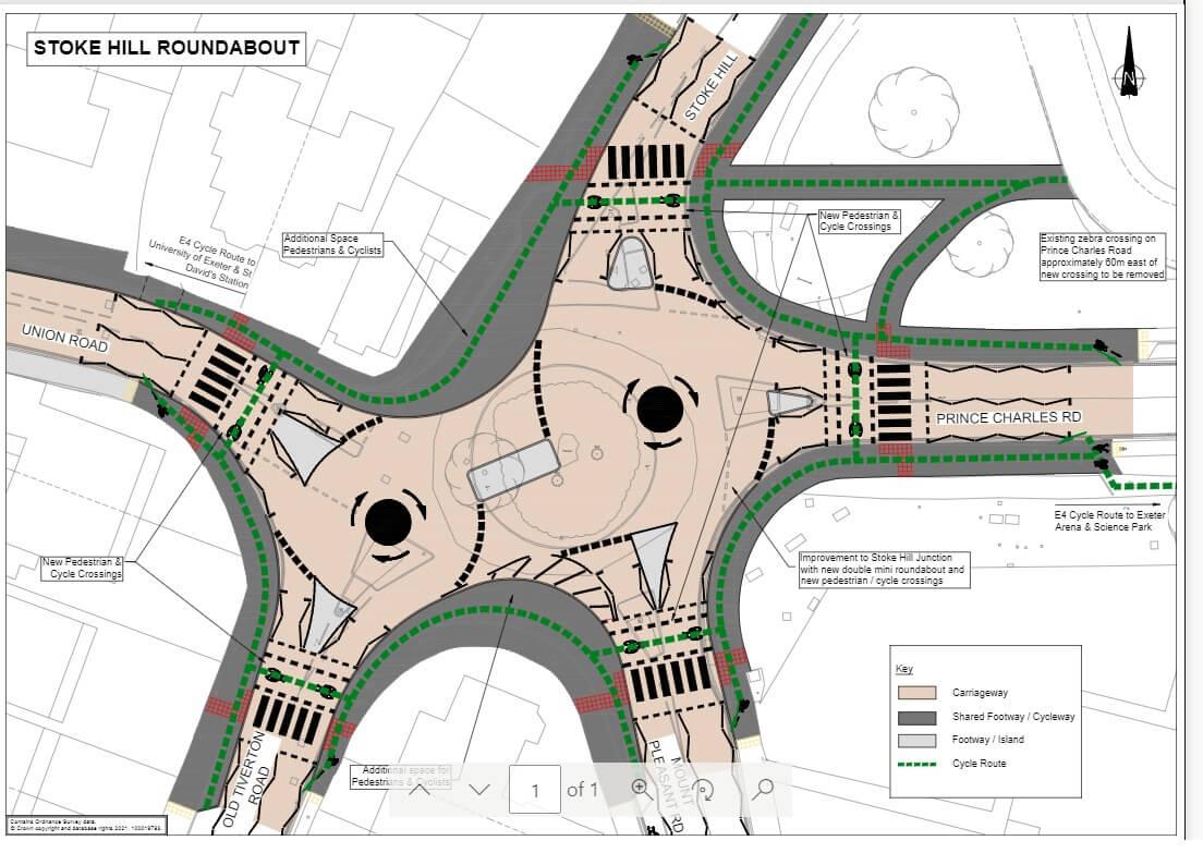 Proposed changes to the Stoke Hill Roundabout in Exeter. Image: DCC
