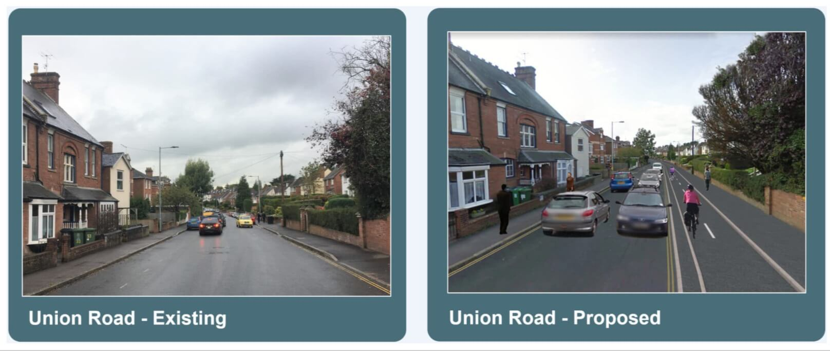 The existing Union Road and the proposed changes for the E4 cycle route in Exeter. Image: Devon County Council