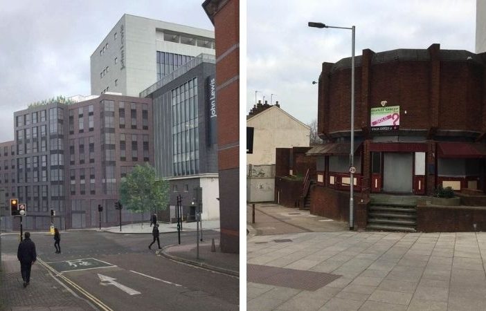 Left, an artist's impression of the student flats planned for The King Billy pub in Exeter. Image: Rengen. Right, the city centre site as it currently looks.