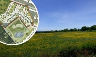 The plot in Pinhoe, Exeter. Image Michael Bennett, from his objection to the application. Inset, plans for the Home Farm site. Image: Waddeton Park Ltd, from the planning application.