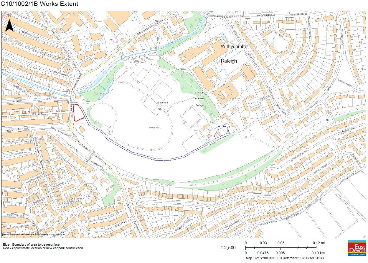 The site of the new parking area at Phear Park in Exmouth is highlighted in red. Image: East Devon District Council