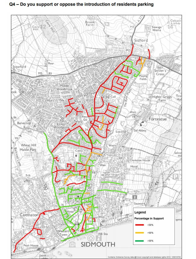A map, following a consultation in 2018, showing the support (or lack of) for residents' parking in the Sidmouth and Sidford areas. Green parts show more than 50 per cent of people who responded supported it. Red shows less than 50 per cent of respondents were in support.