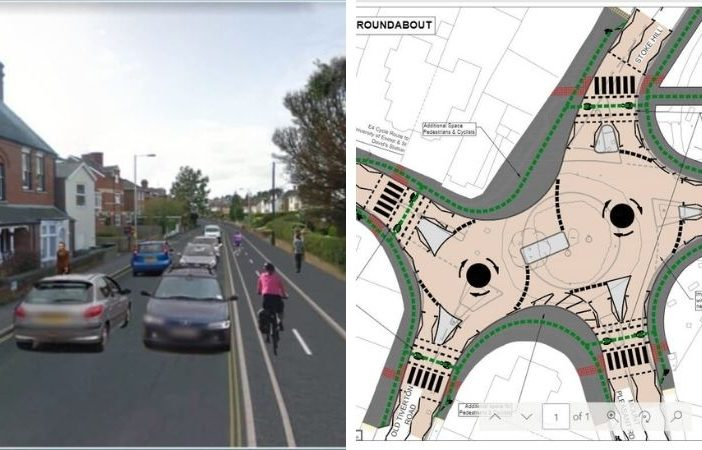The proposed changes as part of the E4 cycle route in Exeter. Images: Devon County Council