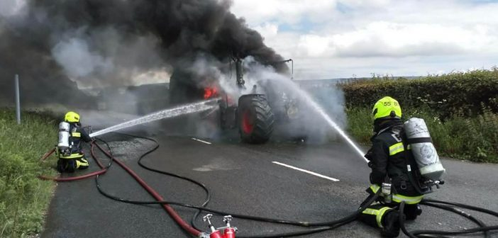 Blaze completely destroys tractor and spreads to hedge near Ottery