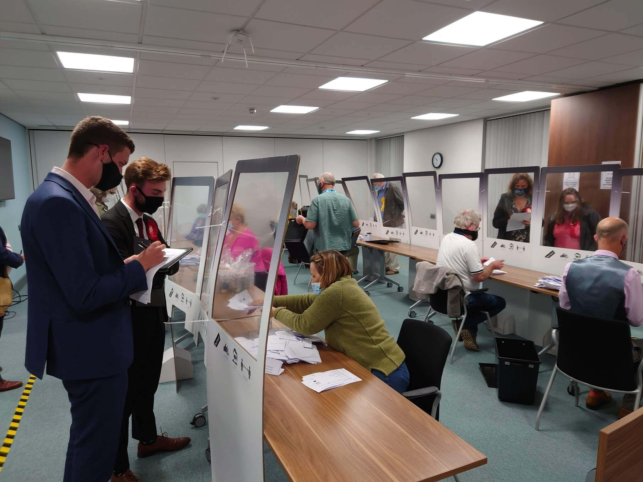 Ballots are counted at East Devon District Council. Image: Joe Ives