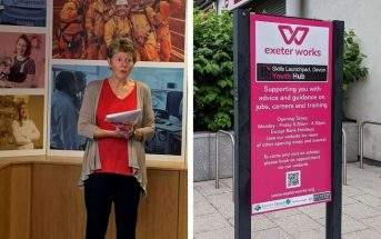 Left, Cllr Rachel Sutton, speaking at the launch event in Exeter. Right, Exeter Works. Image: Ollie Heptinstall